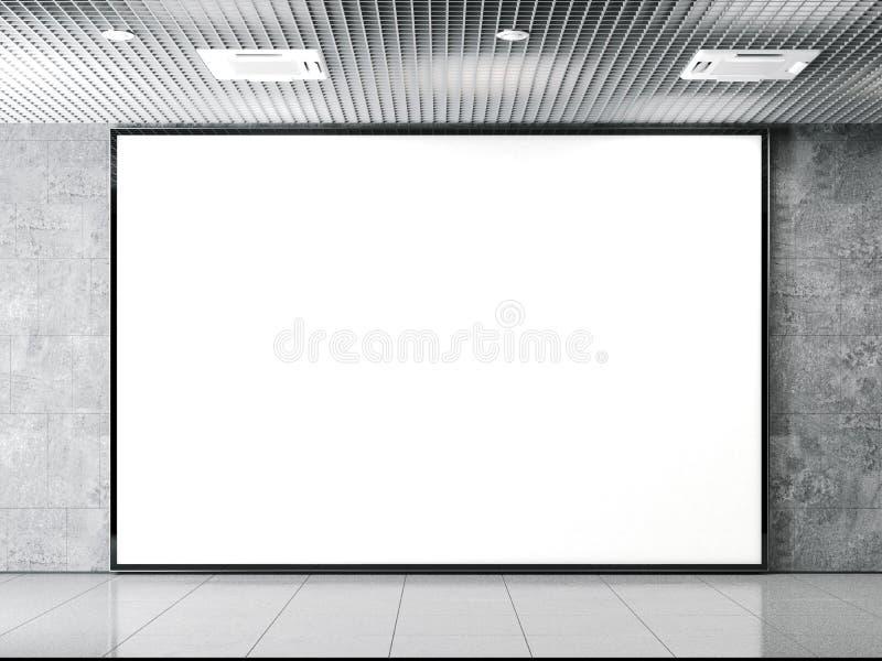 Horisontal leeg aanplakbord op een steenmuur het 3d teruggeven stock illustratie