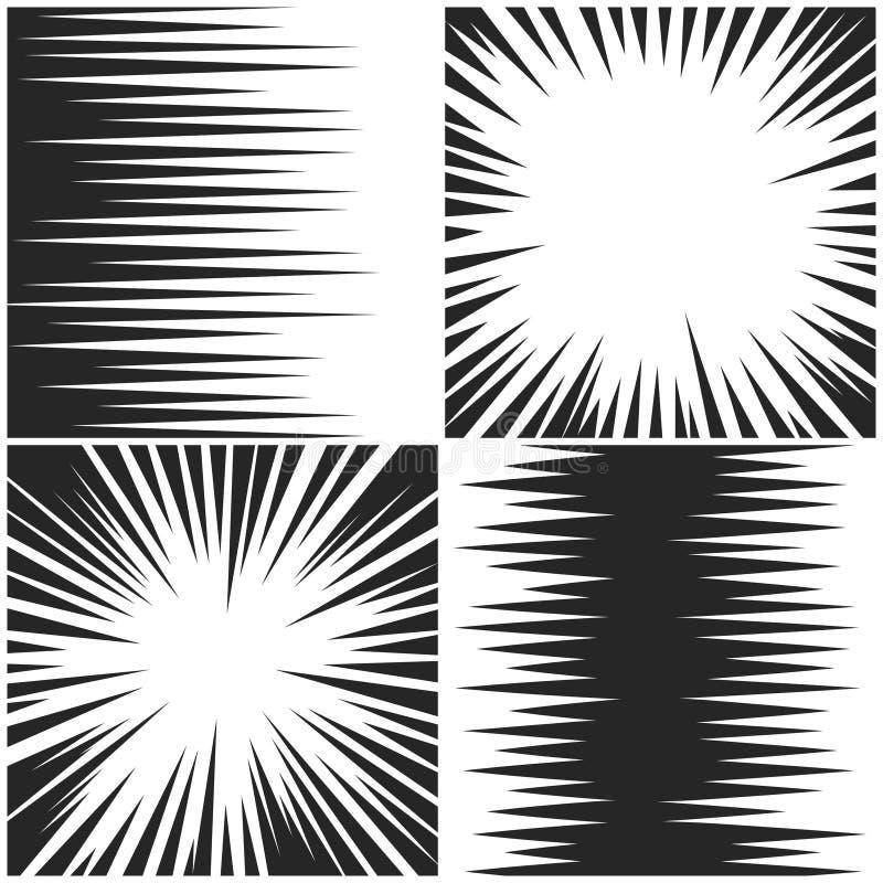 Horisontal- och radiella hastighetslinjer bakgrunder för vektor för teckning för diagrammanga komiska ställde in vektor illustrationer