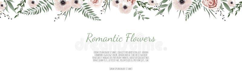 Horisontal projekta botaniczny wektorowy sztandar Menchii róża, eukaliptus, sukulenty, kwiaty, greenery Naturalnej wiosny karta l royalty ilustracja