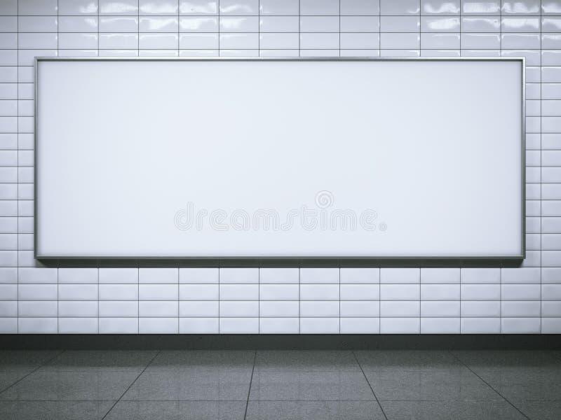 Horisontalaanplakbord op metro post het 3d teruggeven royalty-vrije illustratie