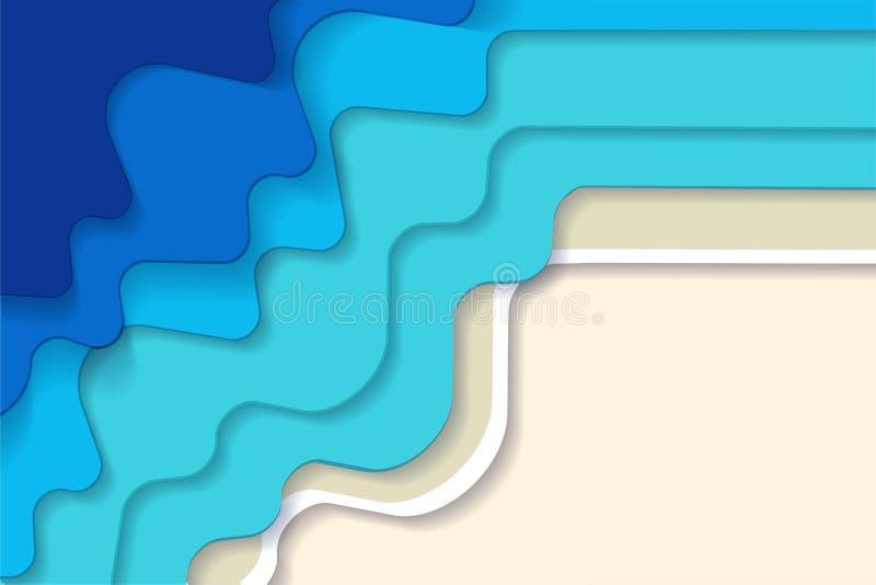 Horisontalabstrakt bl? turkosbl?tt maldivian hav- och strandsommarbakgrund med pappers- v?gor och den tropiska sandseacoasten royaltyfri illustrationer