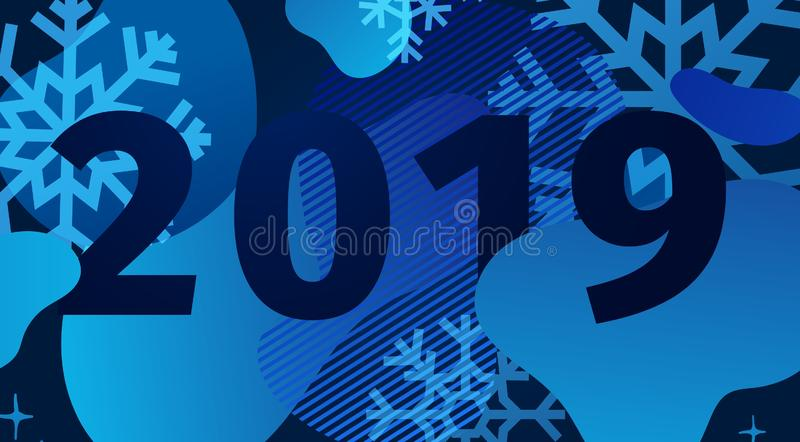 Horisontalabstrakt geometrisk design för det lyckliga nya året 2019 Ferieerbjudandebaner med vektorden vätskeformen och dekoren vektor illustrationer
