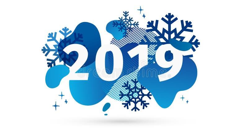 Horisontalabstrakt geometrisk design för det lyckliga nya året 2019 Ferieerbjudandebaner med vektorden vätskeformen och dekoren stock illustrationer