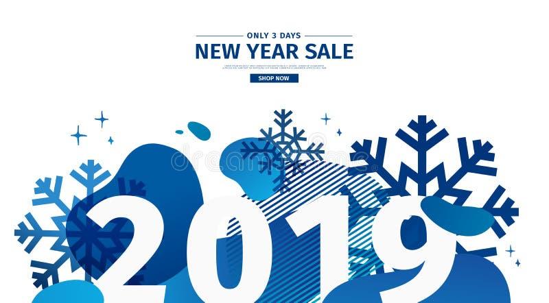 Horisontalabstrakt geometrisk design för det lyckliga nya året 2019 Jul erbjuder banret med vektorvätskeformen och stock illustrationer