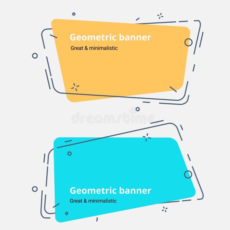 Horisontalabstrakta geometriska baner tappning och moderiktig bakgrundsuppsättning royaltyfri illustrationer