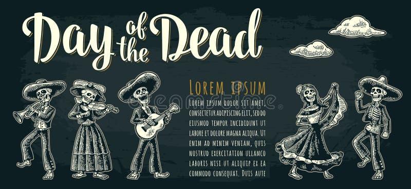 Horisontalaffisch för Diameter de los Muertos Dag av den döda bokstäver stock illustrationer