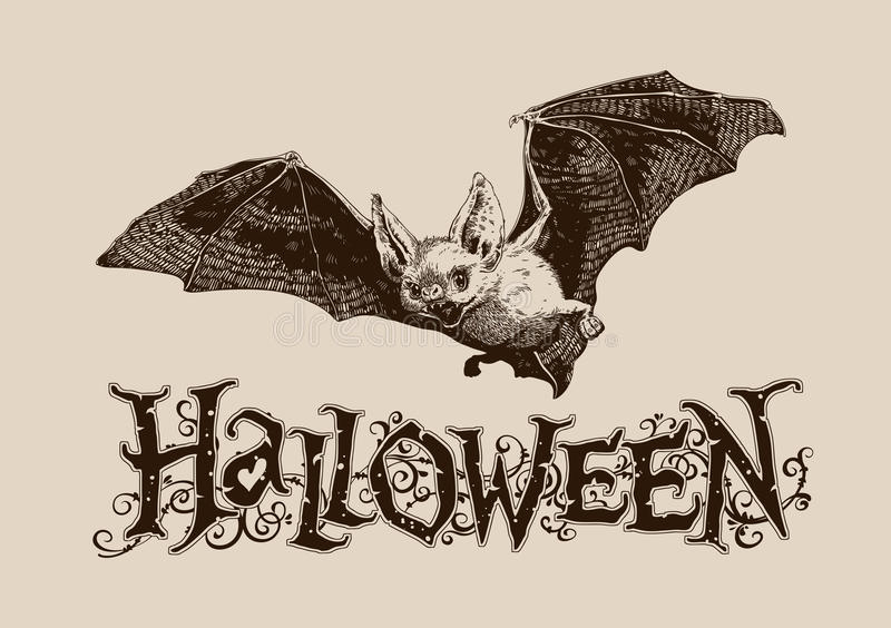 Horisontalaffisch för tappninghalloween slagträ, baner, titelrad, post, I stock illustrationer