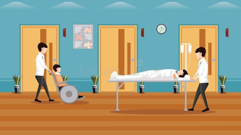 Horisontalbakgrund för medicinskt begrepp, medicinsk service med doktorer och patienter i sjukhuset, rörelsehindrad man på rullst stock illustrationer
