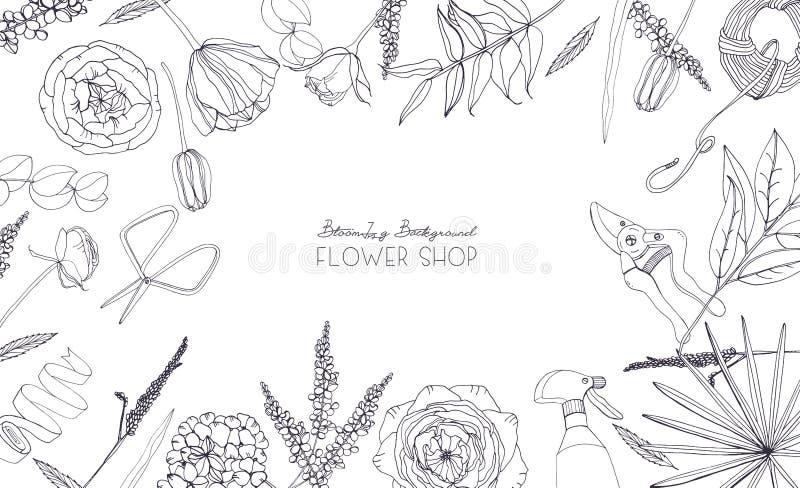 Horisontalbakgrund med blommor för annonsering som är blom- shoppar, salongen Hand dragen monokrom sammansättning med stället för stock illustrationer