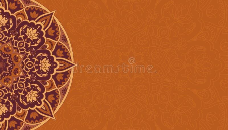 Horisontalbakgrund med den bruna mandalaen stock illustrationer