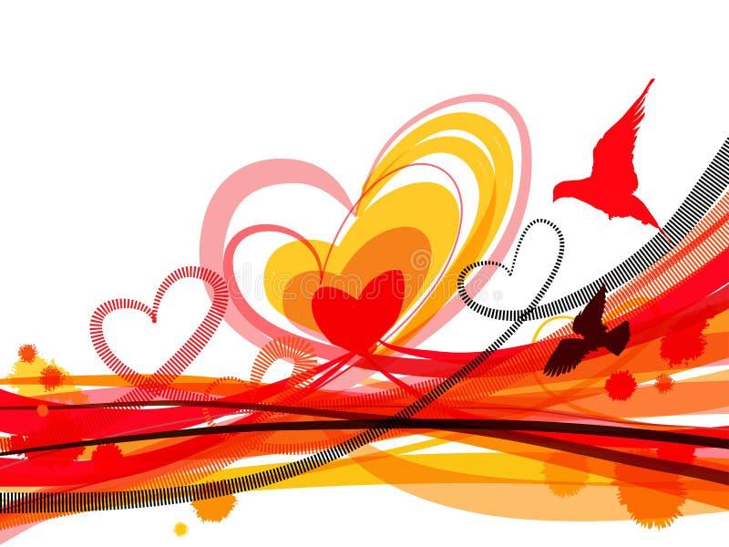 Horisontalbakgrund med hjärtor och fåglar royaltyfri illustrationer