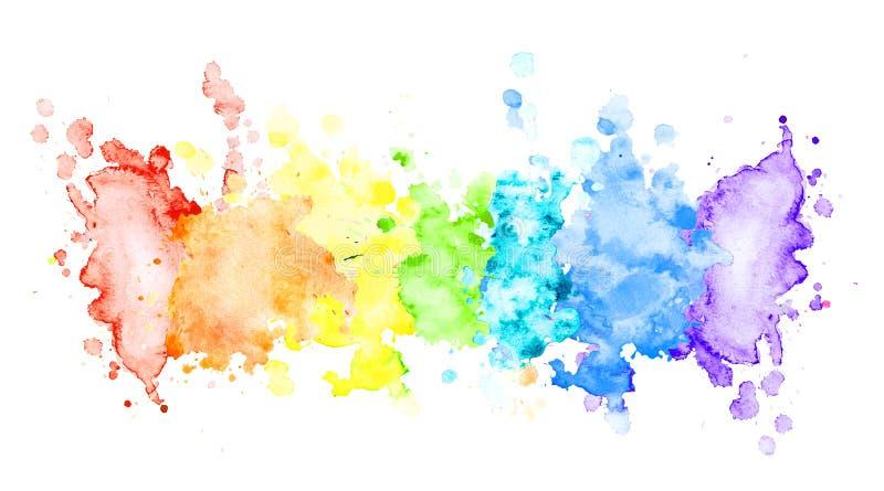Horisontalband för flerfärgad vattenfärg royaltyfri foto