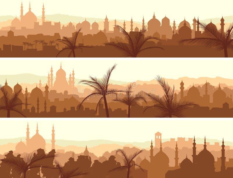 Horisontalbaner av den stora arabiska staden på solnedgången. royaltyfri illustrationer