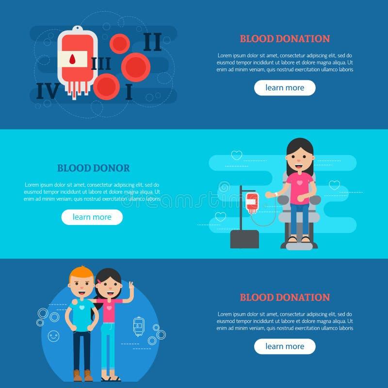 Horisontalbaner för bloddonation vektor illustrationer