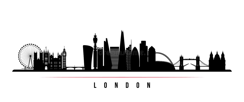 Horisontalbaner för London stadshorisont Svartvit kontur av den London staden vektor illustrationer