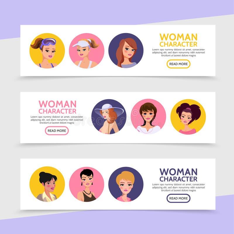 Horisontalbaner för plana kvinnateckenAvatars vektor illustrationer