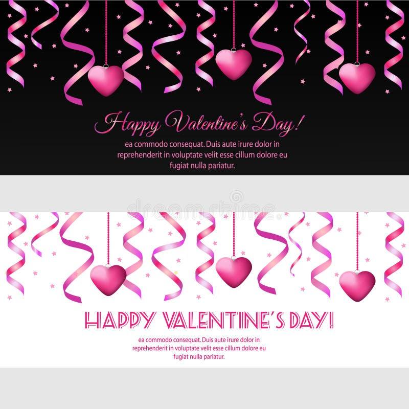Horisontalbaner för St-valentindag med rosa banderoller och hjärtor royaltyfri illustrationer