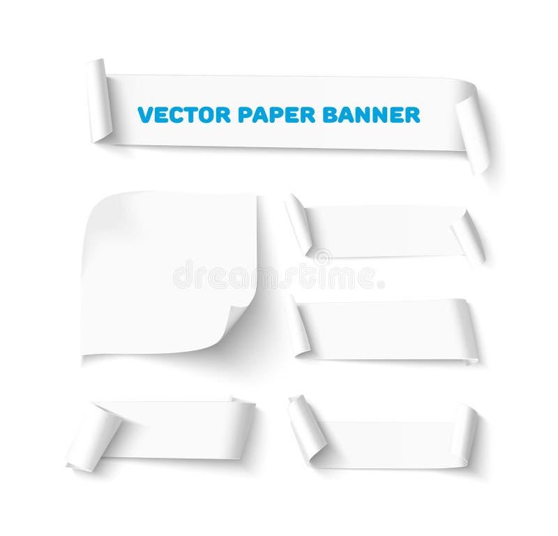 Horisontalbaner för tomt papper med krullningshörnet som isoleras på vit bakgrund vektor illustrationer