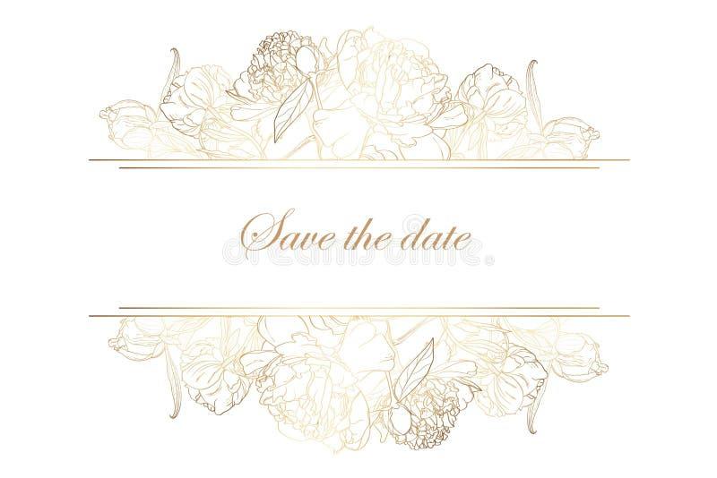Horisontalbaner med guld- pionrosblommor Romantisk design för kvinnaprodukter royaltyfri illustrationer