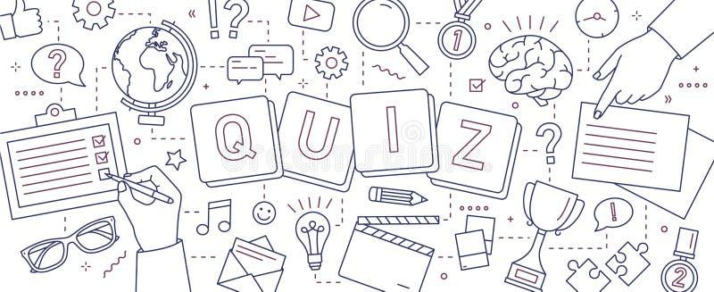 Horisontalbaner med händer av folk som löser pussel, svarande frågesportfrågor som spelar brädelekar för att testa stock illustrationer