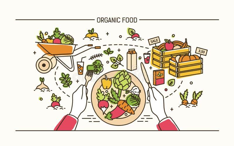 Horisontalbaner med händer som rymmer gaffeln och kniv och platta med sunt mål som omges av frukter, grönsaker stock illustrationer