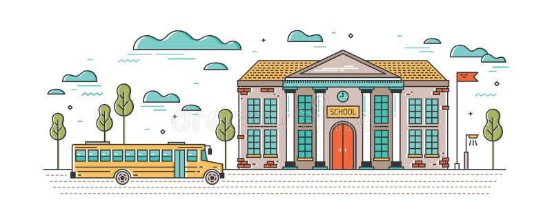 Horisontalbaner med klassisk skolabyggnad och buss för barn som kör på vägen Utbildningsinstitution system av stock illustrationer