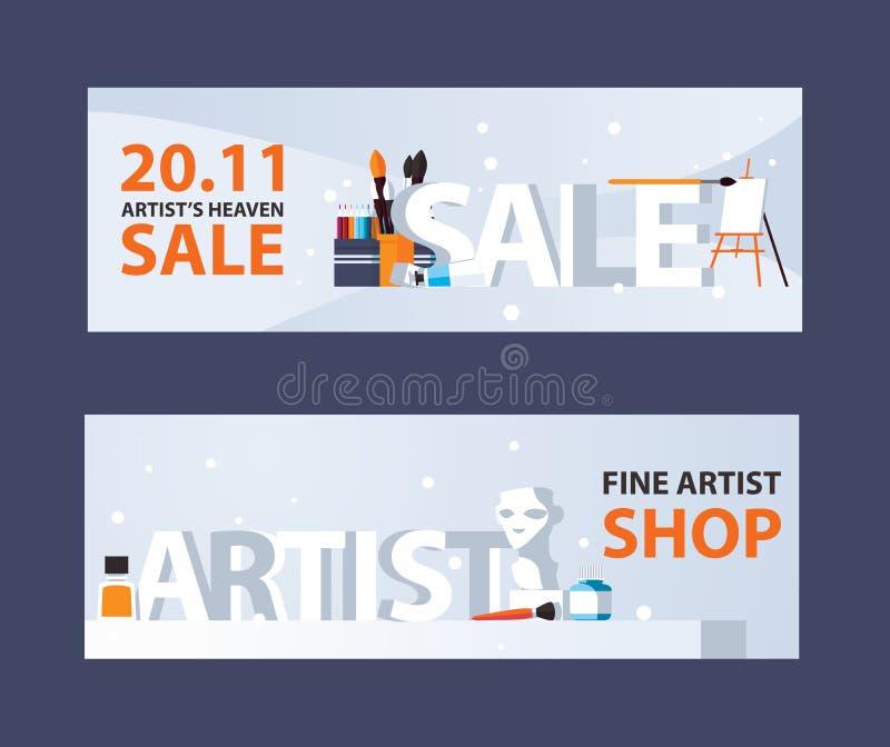 Horisontalbaner med konstnärtillförsel och teckningsbrevpapper, den stora försäljningen för ord 3d och konstnären, godan för kons vektor illustrationer