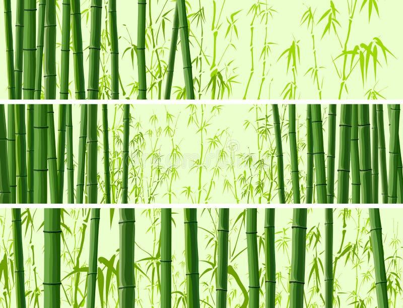 Horisontalbaner med många bambur. vektor illustrationer