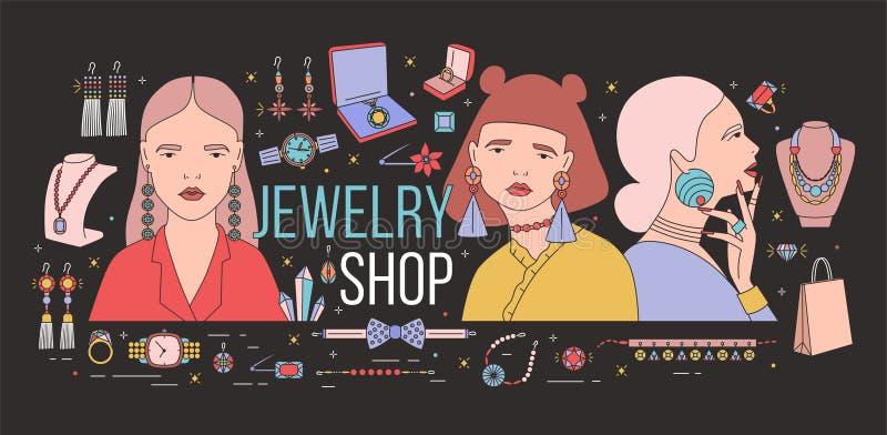 Horisontalbaner med unga eleganta damer som bär stilfulla massiva örhängen som omges av trendiga smycken på svart royaltyfri illustrationer