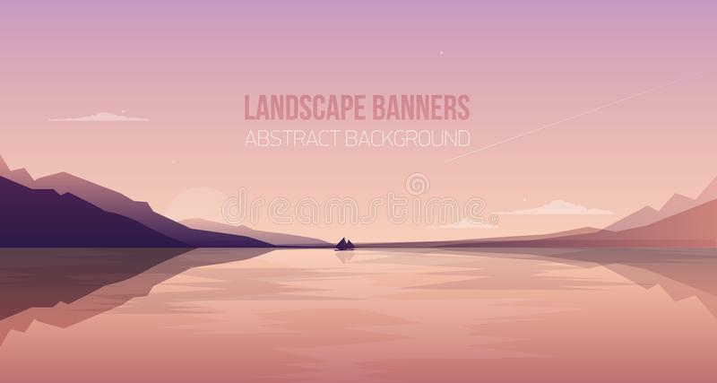 Horisontalbaner med ursnyggt sjösidalandskap eller landskap Pittoresk sikt med yachtsegling i havsfjärd mot stock illustrationer