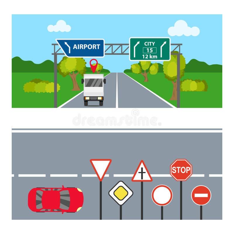Horisontalbaner med vägmärken Två horisontalbaner med transport och vägmärken stock illustrationer