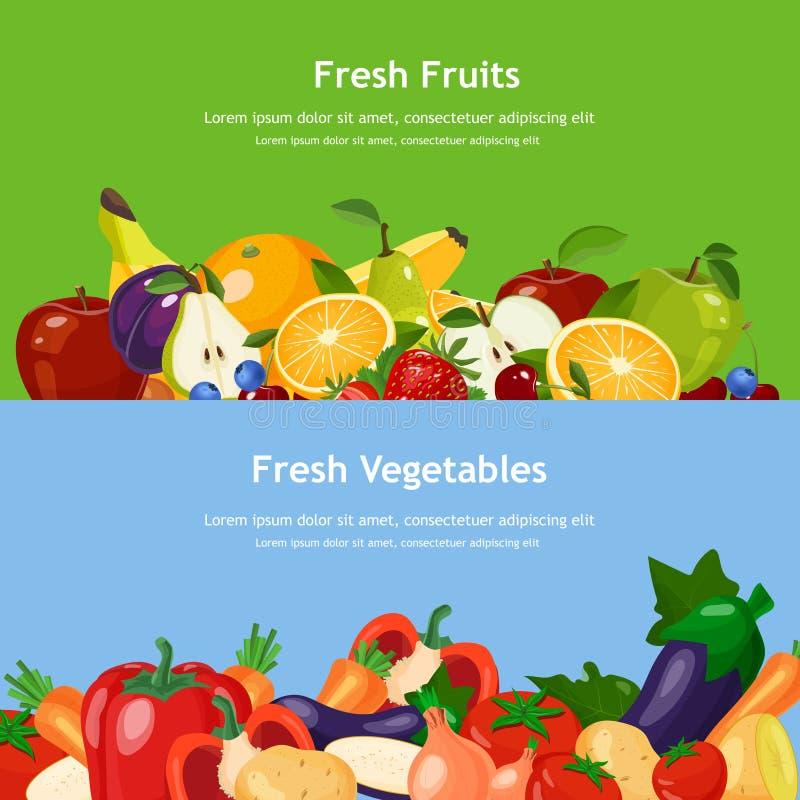 Horisontalbaner ställde in med nya frukter och grönsaker vektor illustrationer