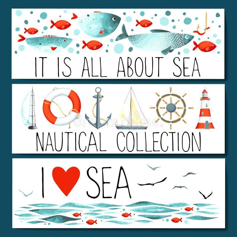 Horisontalbanermallar med nautiska beståndsdelar royaltyfri illustrationer