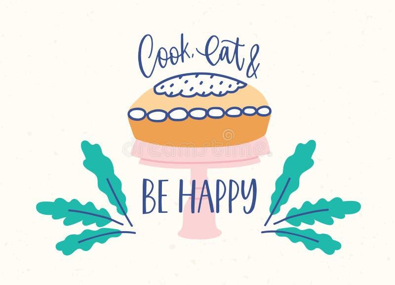 Horisontalbanermallen med den läckra kakan eller pajen på ställning och kock, äter och är det lyckliga uttrycket som är handskriv stock illustrationer