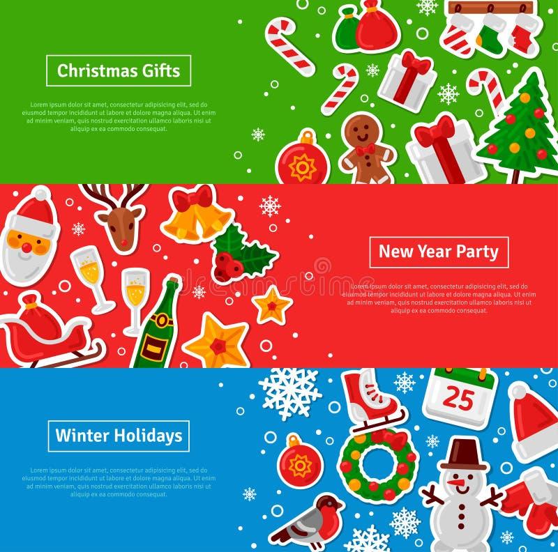 Horisontalbaneruppsättning för glad jul med plana klistermärkesymboler vektor illustrationer