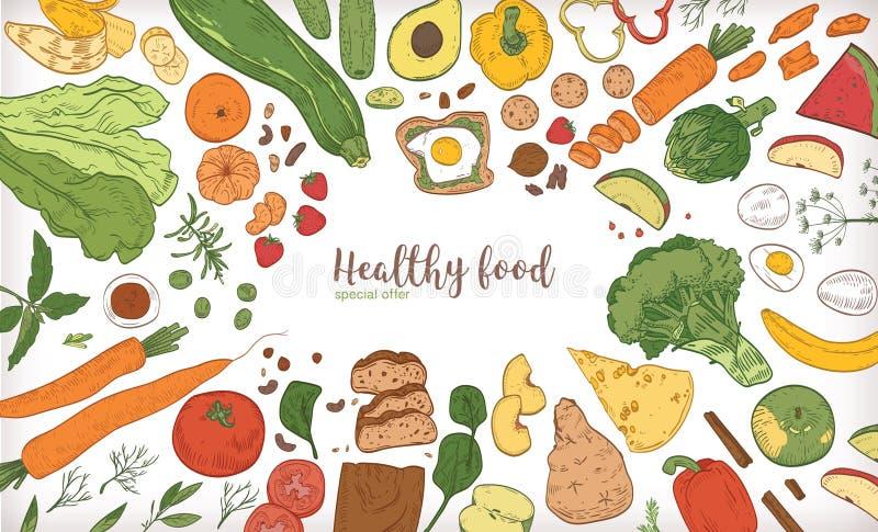 Horisontalbanret med ramen bestod av olika skivor för sund eller hälsosam mat, frukt- och grönsak, muttrar, ägg stock illustrationer