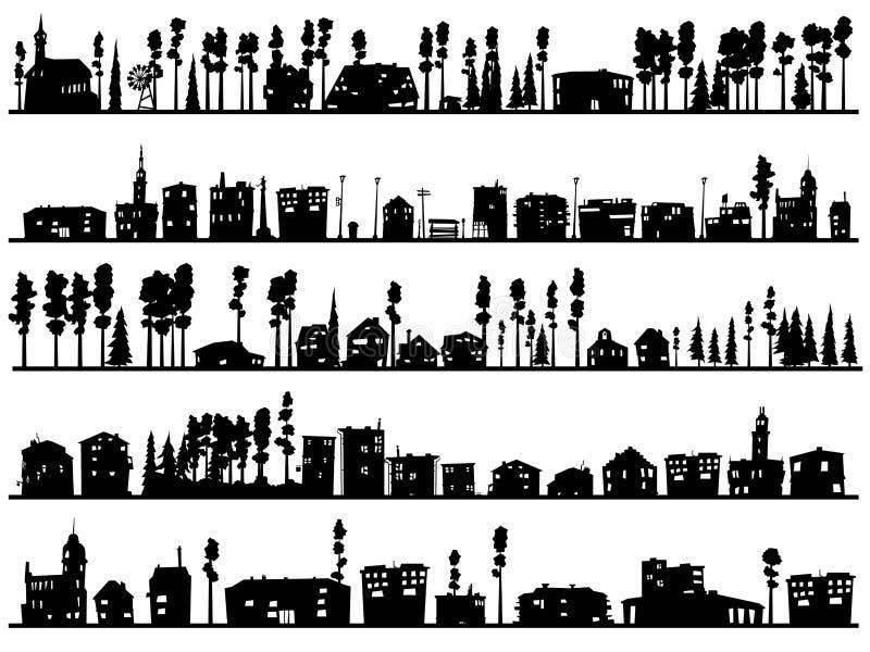 Horisontalbarnsliga konturer av byggt, hem- och träd vektor illustrationer