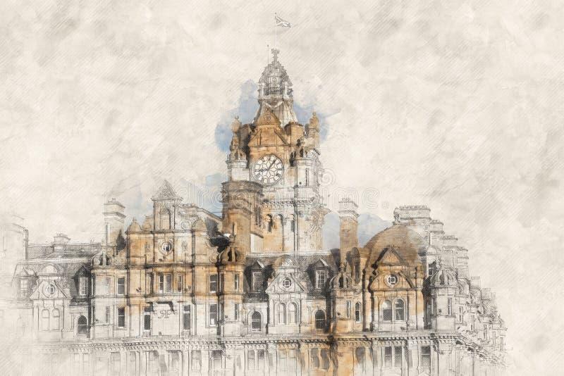 Horisontalbild av staden för Balmoral hotellklocka i Edinburg royaltyfri bild