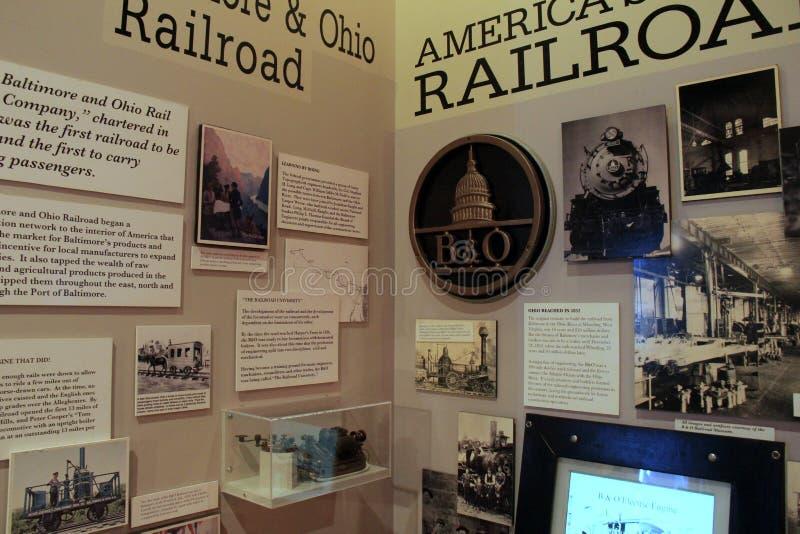 Horisontalbild av utställningen, som täcker historia av järnvägarna, Baltimore museum av bransch, Maryland, 2017 royaltyfri bild
