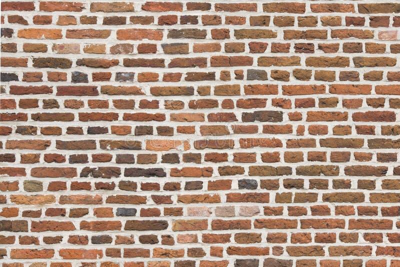 horisontalbild för Full-ram röd gammal tegelstenvägg med gamla färgrika stenar royaltyfri foto