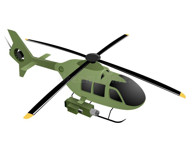 horisontalbildmilitär för grön helikopter royaltyfri illustrationer