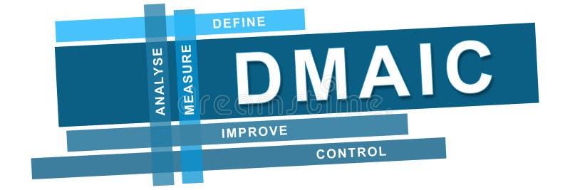 Horisontalblåa band för DMAIC stock illustrationer