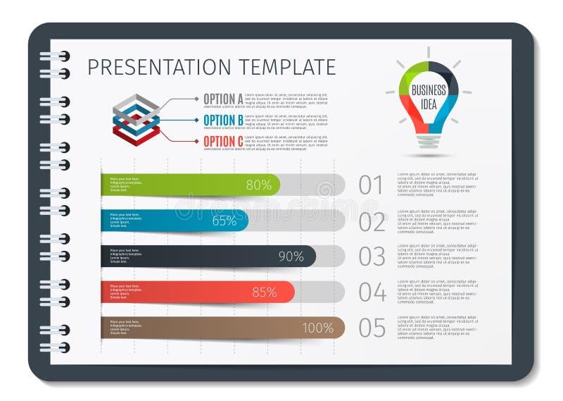Horisontalbroschyr eller bok eller notepad med den infographic mallen för våraffär Mall för presentationsbakgrund royaltyfri illustrationer
