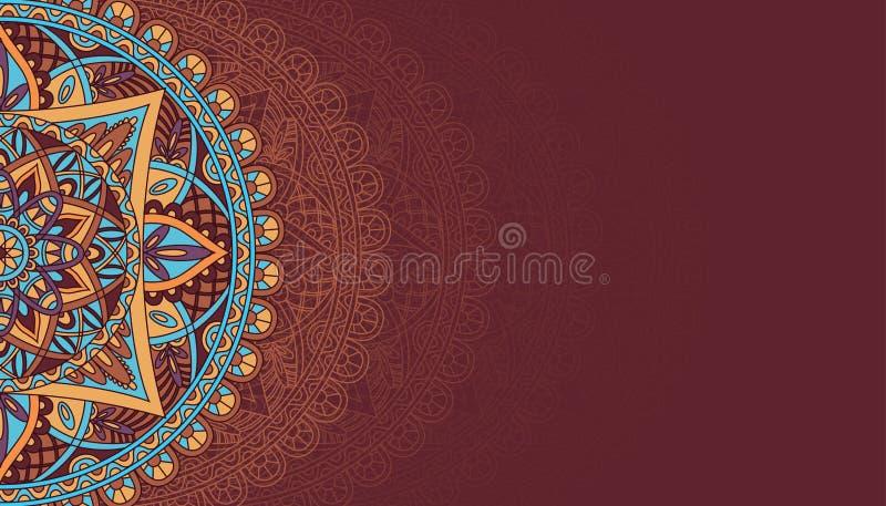 Horisontalbrun bakgrund med mandala 2 stock illustrationer