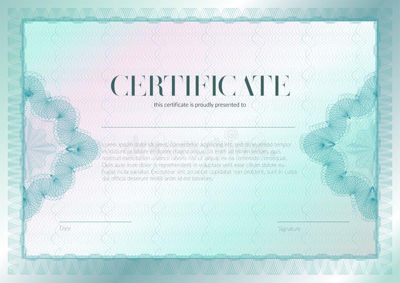 Horisontalcertifikat med guilloche- och vattenst?mpelvektormalldesign Diplomdesignavl?ggande av examen, utm?rkelse, framg?ng vektor illustrationer