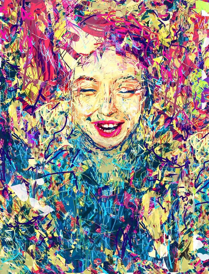 HorisontalDigital målning 'Ändlösa Happines 'Bild för din inre stock illustrationer