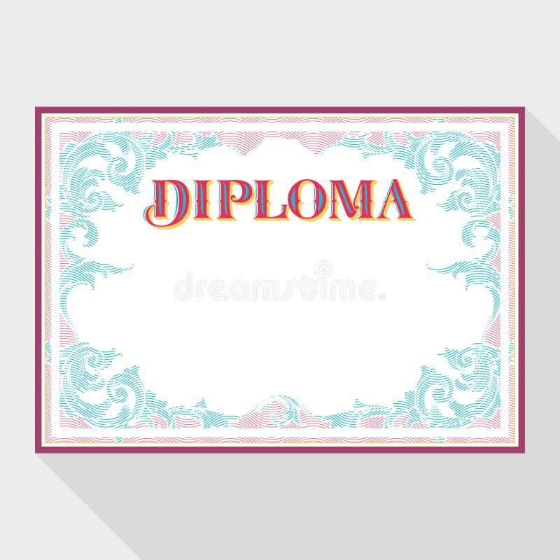 Horisontaldiplomdesignmall med en prydnad i tappningstil stock illustrationer