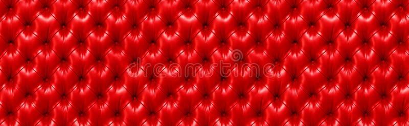 horisontalelegant röd lädertextur med knappar för backgrou arkivfoto