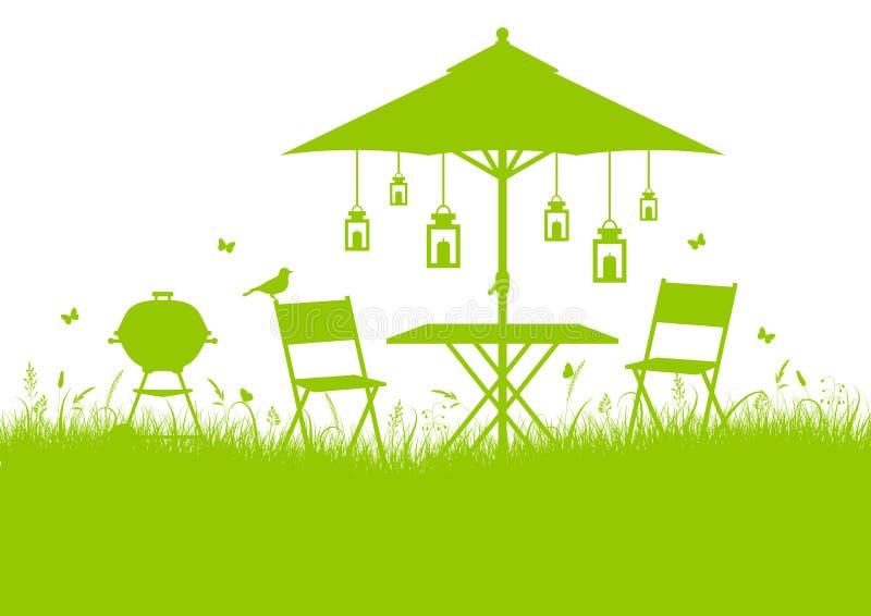 Horisontalgräsplan för bakgrund för kontur för sommarträdgårdgrillfest vektor illustrationer