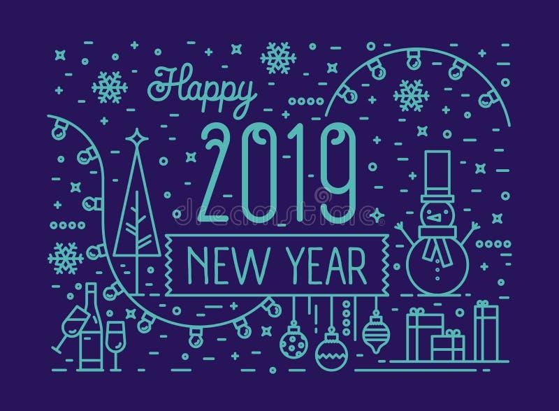 Horisontalhälsa kort- eller partiinbjudanmall med önska för lyckligt nytt år, snögubbe, struntsaker, ljus girland, gåvor vektor illustrationer